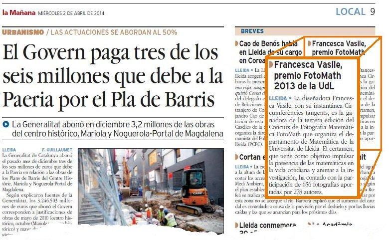 Notícia apareguda al diari La Mañana el dia 2-4-2013