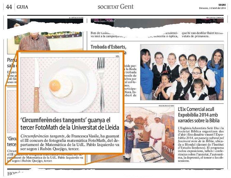 Notícia apareguda al diari Segre el dia 2-4-2013